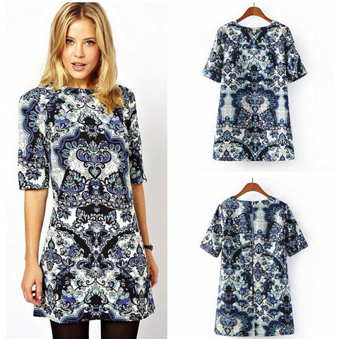 hotsale Women Porcelain Print dress half Sleeve T Shirt Top Casual Mini Shift Dress S - Mega Save Wholesale & Retail - 1