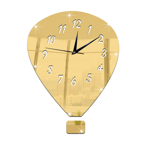 Mirror Wall Clock Silent Decoration DIY 3D    golden - Mega Save Wholesale & Retail
