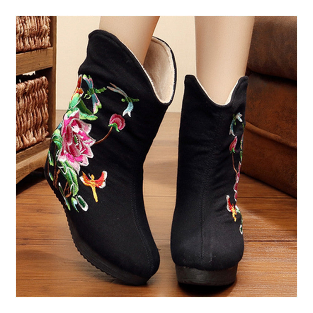 Vintage Beijing Cloth Shoes Embroidered Boots black - Mega Save Wholesale & Retail - 2