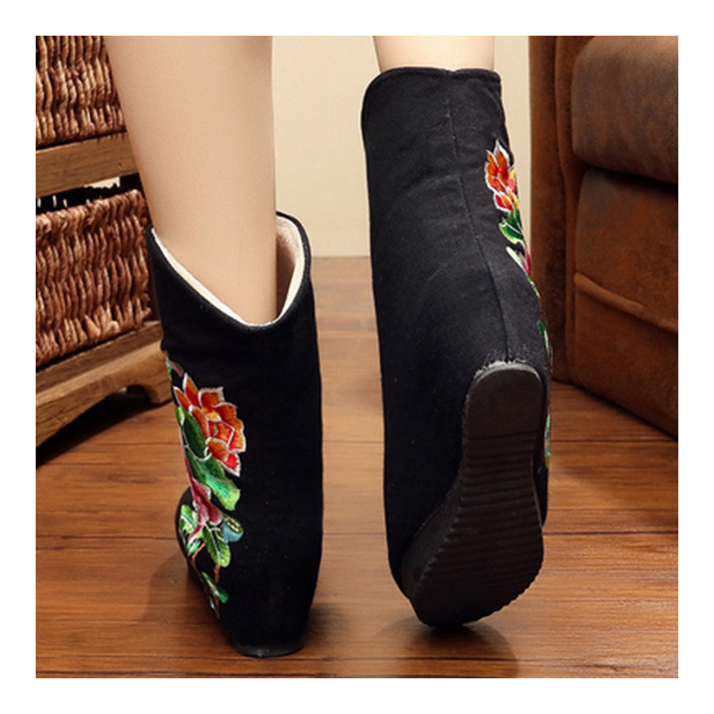 Vintage Beijing Cloth Shoes Embroidered Boots black - Mega Save Wholesale & Retail - 3