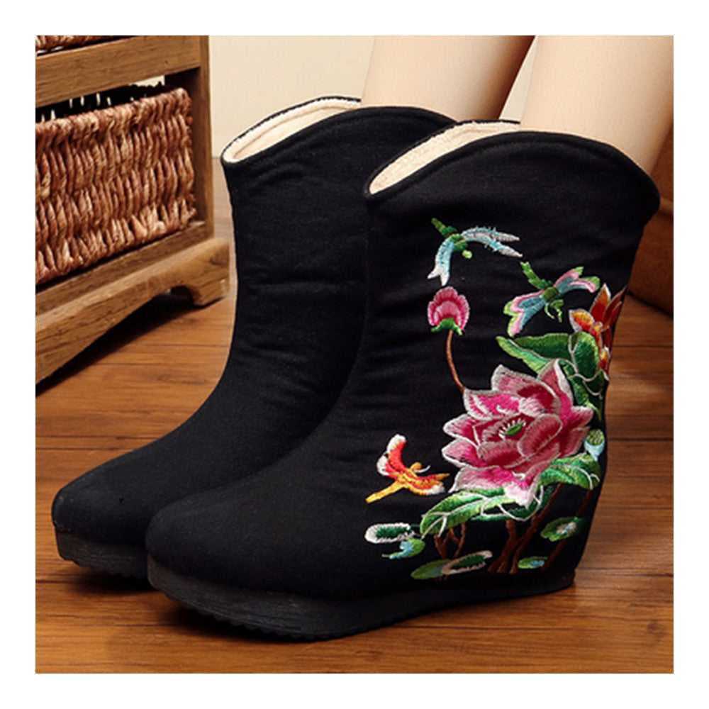 Vintage Beijing Cloth Shoes Embroidered Boots black - Mega Save Wholesale & Retail - 4