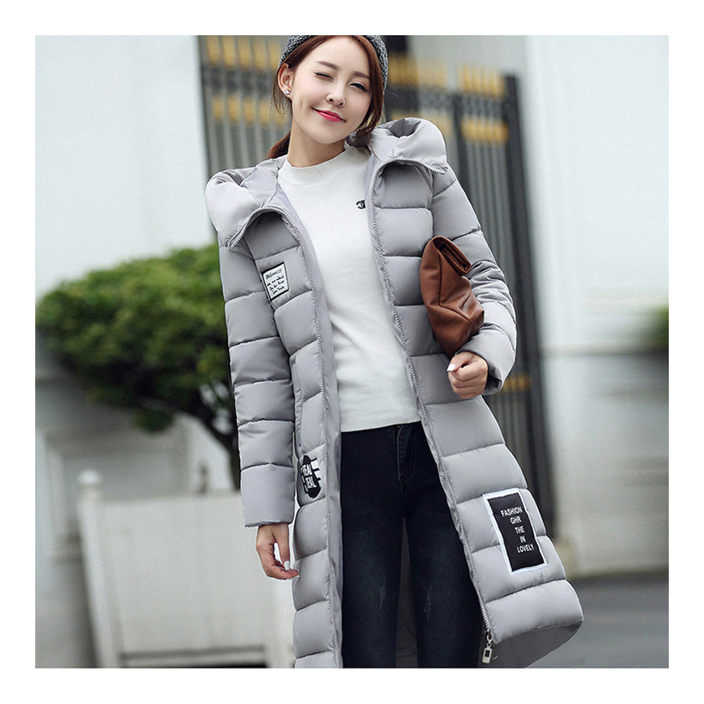 Winter Super Long Down Coat Woman Thick Slim Hooded   grey   M - Mega Save Wholesale & Retail - 1