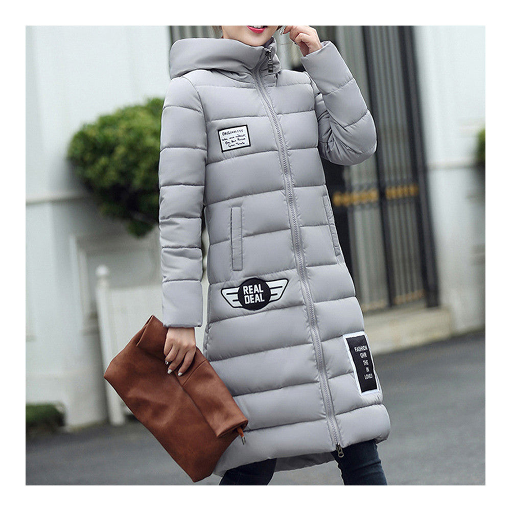 Winter Super Long Down Coat Woman Thick Slim Hooded   grey   M - Mega Save Wholesale & Retail - 2