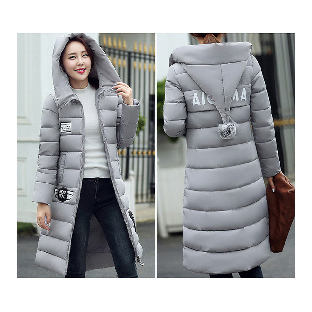 Winter Super Long Down Coat Woman Thick Slim Hooded   grey   M - Mega Save Wholesale & Retail - 3
