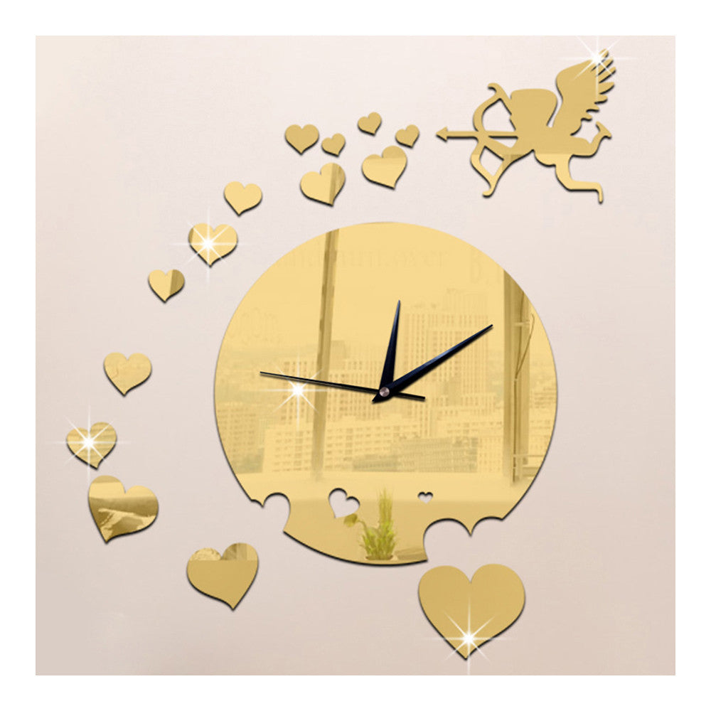 Creative Home Decoration Sticking Wall Clock Love Heart Cupid Mirror   golden - Mega Save Wholesale & Retail