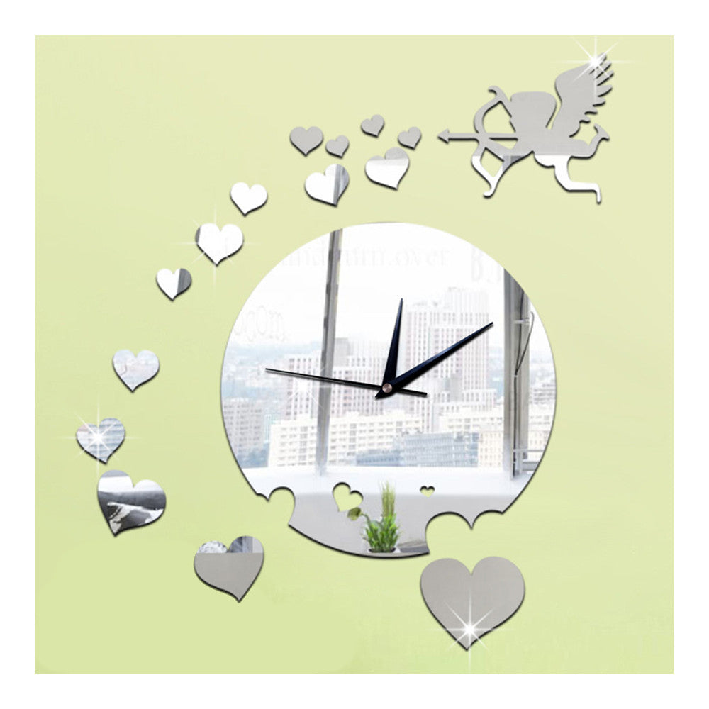 Creative Home Decoration Sticking Wall Clock Love Heart Cupid Mirror   silver - Mega Save Wholesale & Retail