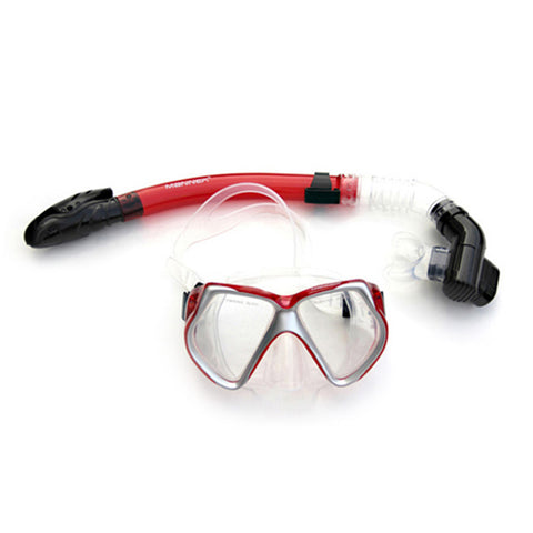 Diving Masks Face Mirror Snorkels Glasses Full Dry Type red - Mega Save Wholesale & Retail - 1