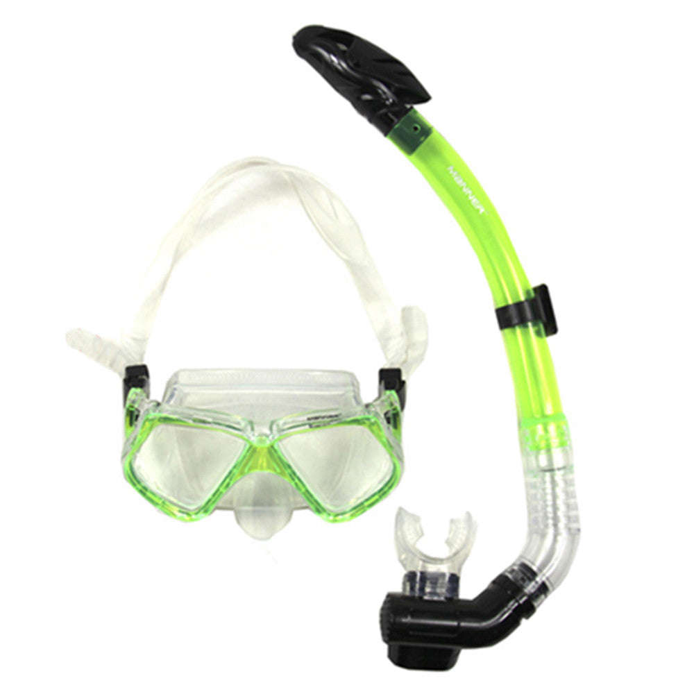 Diving Masks Face Mirror Snorkels Glasses Full Dry Type green - Mega Save Wholesale & Retail - 1