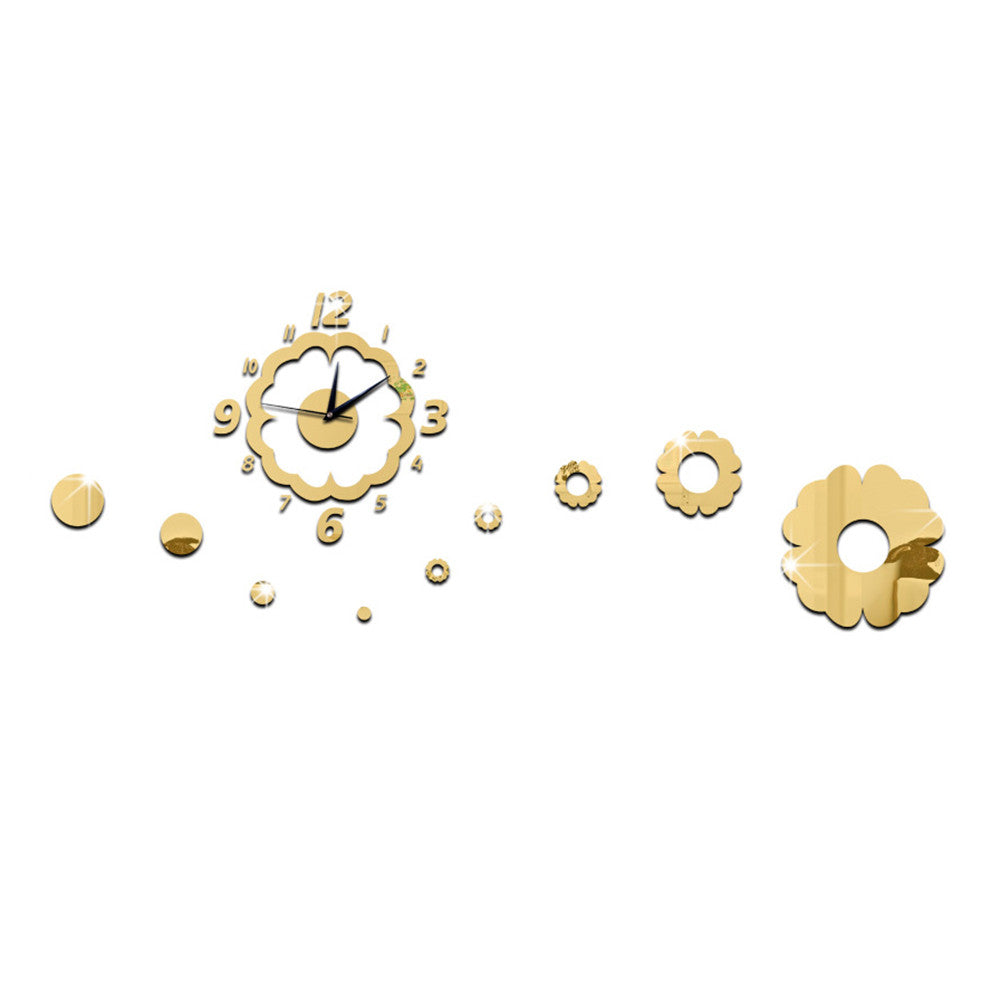 Flower Decoration Wall Clock Mirror Quartz Living Room   golden - Mega Save Wholesale & Retail