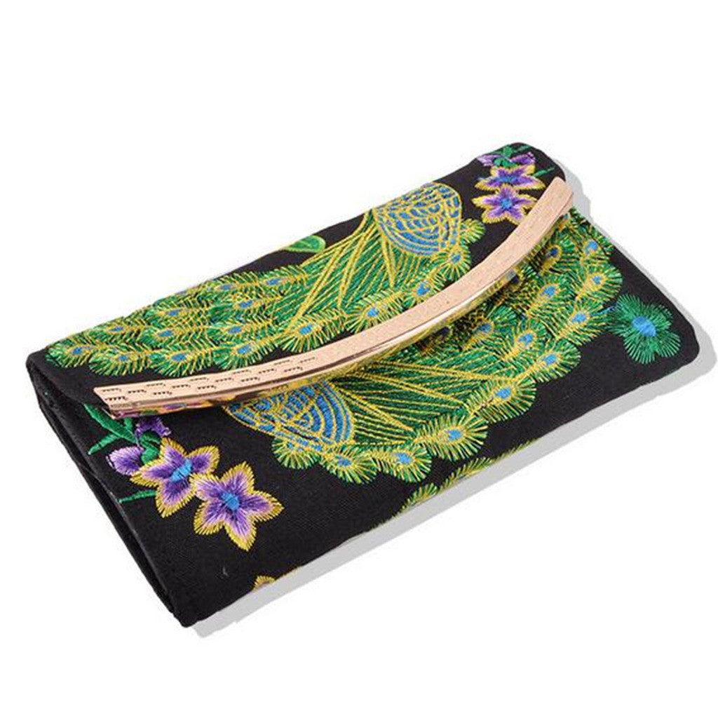 Yunnan National Style Embroidery Woman's Evening Banquet Bag Handbag Chinese Style Flower Banquet Bag    peacock random - Mega Save Wholesale & Retail - 1