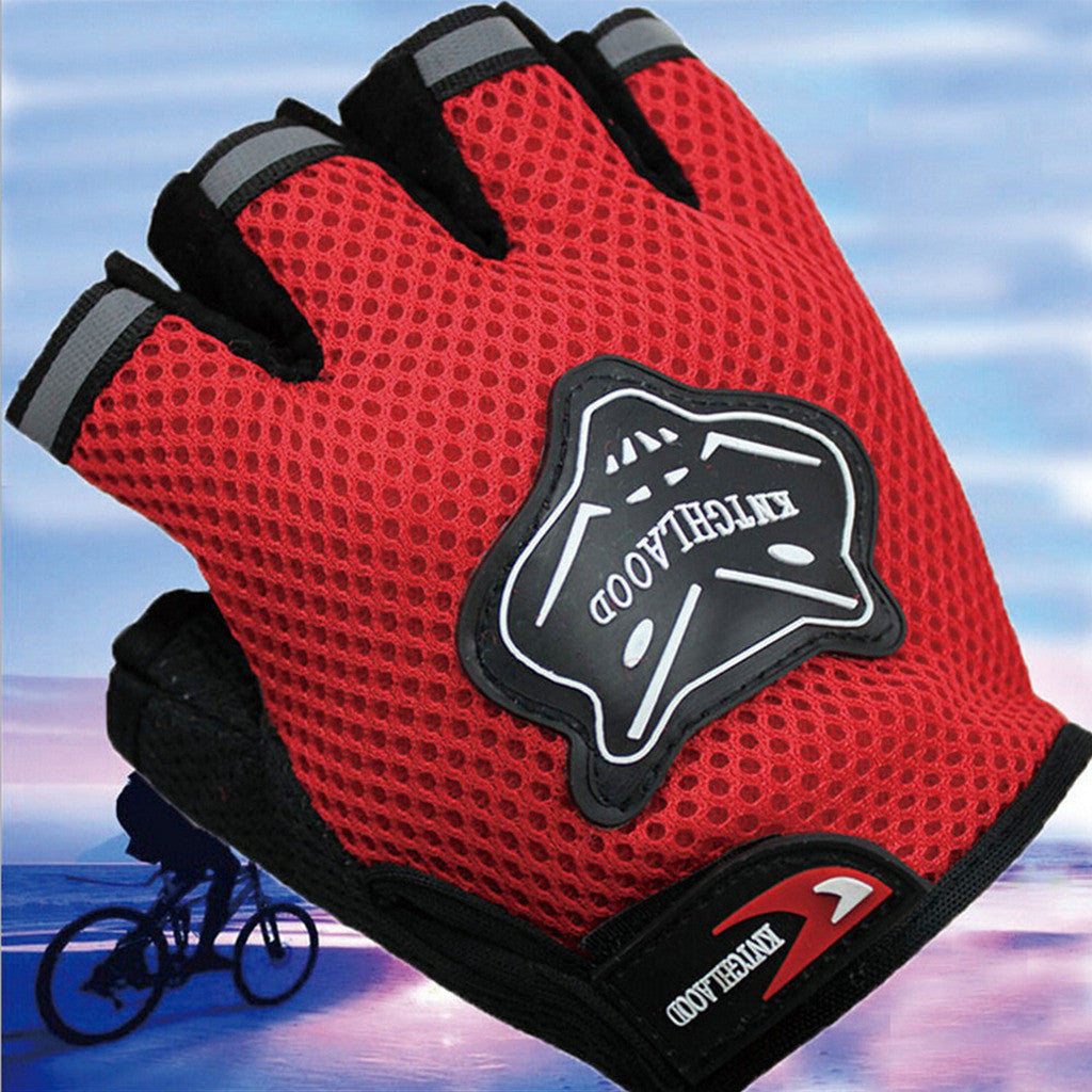Outdoor Sports Fingerless Breathable Cycling Gloves Bike Bicycle Half Finger Gloves Red - Mega Save Wholesale & Retail - 1