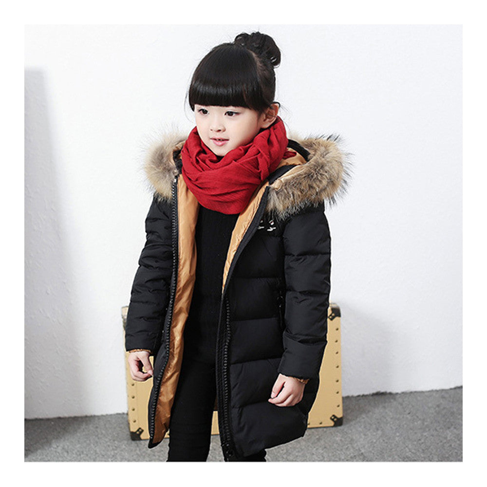 Child Winter Warm Middle Long Down Coat Racoon Fur Collar  black   110cm - Mega Save Wholesale & Retail - 1