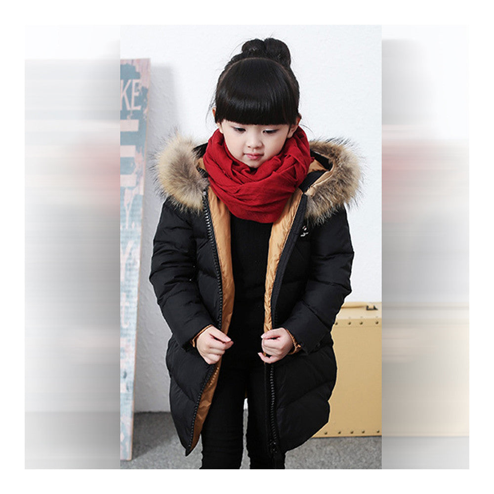 Child Winter Warm Middle Long Down Coat Racoon Fur Collar  black   110cm - Mega Save Wholesale & Retail - 2