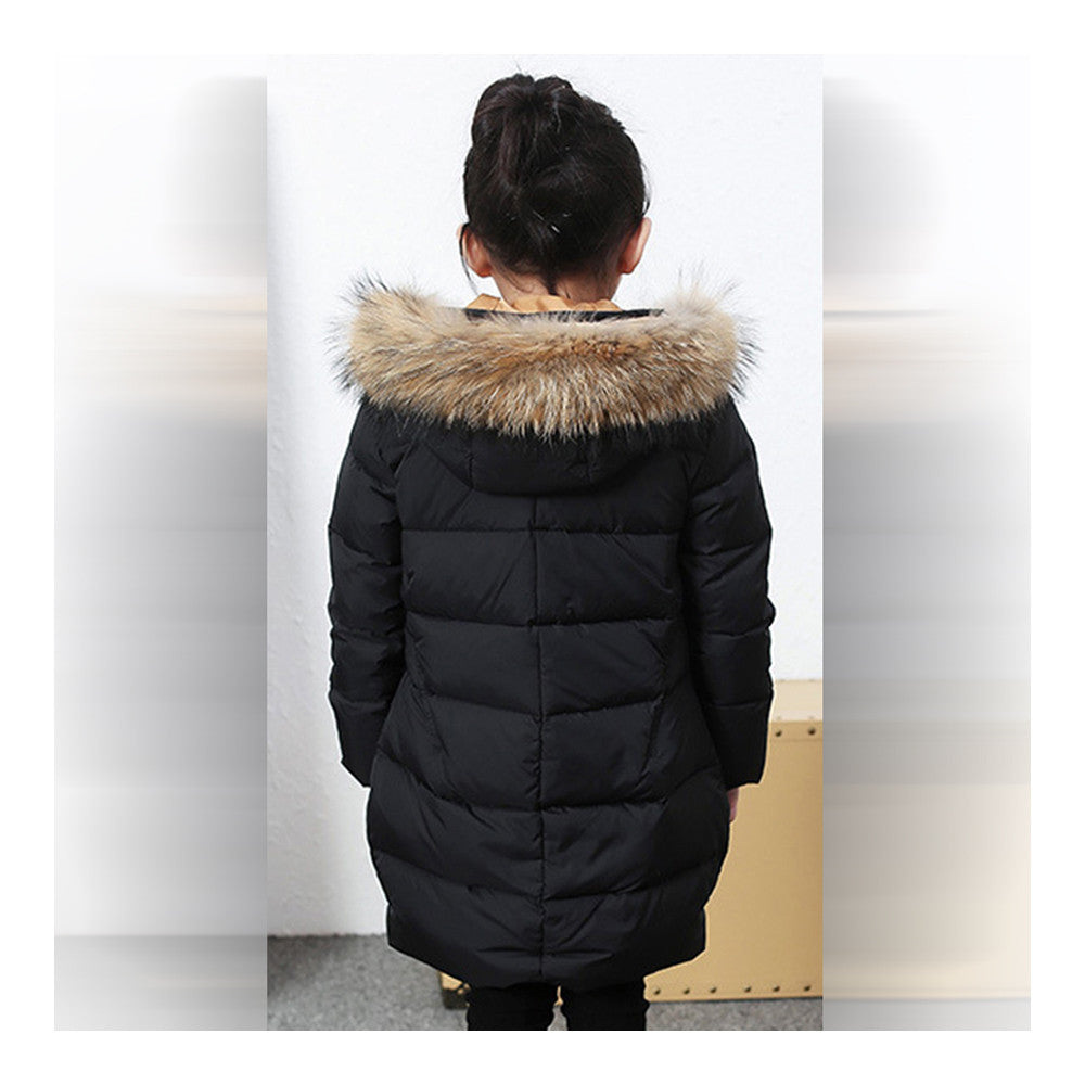 Child Winter Warm Middle Long Down Coat Racoon Fur Collar  black   110cm - Mega Save Wholesale & Retail - 3