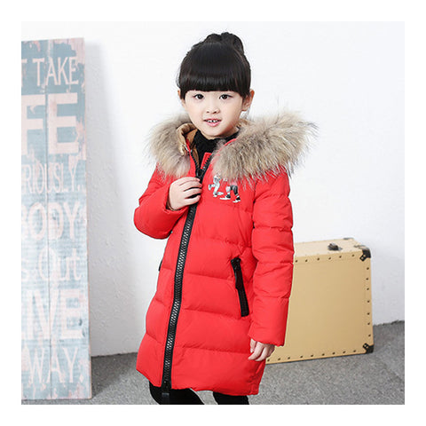 Child Winter Warm Middle Long Down Coat Racoon Fur Collar   red   110cm - Mega Save Wholesale & Retail - 1