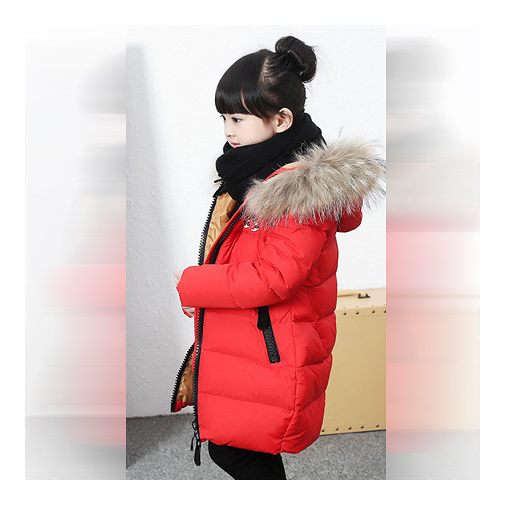 Child Winter Warm Middle Long Down Coat Racoon Fur Collar   red   110cm - Mega Save Wholesale & Retail - 2