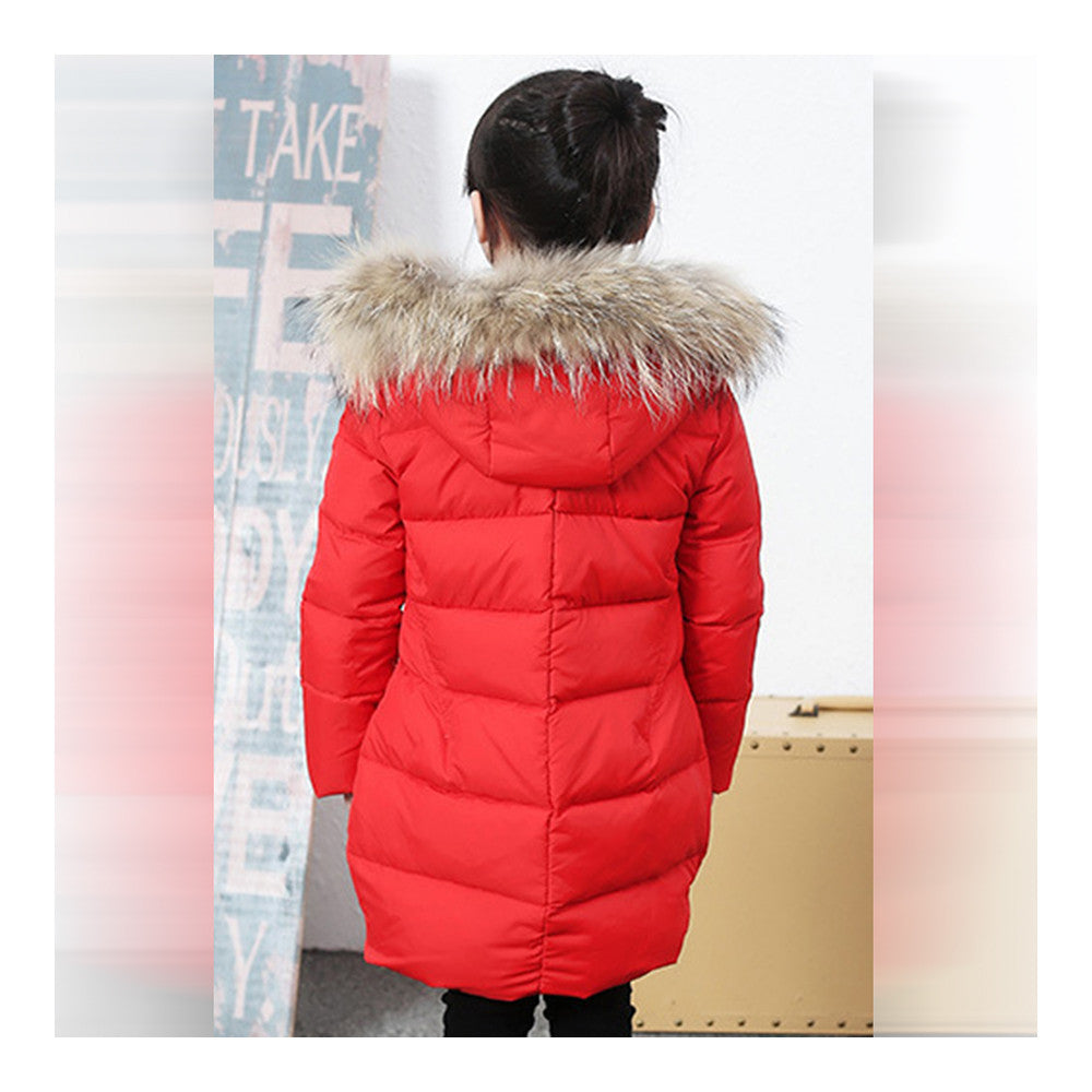 Child Winter Warm Middle Long Down Coat Racoon Fur Collar   red   110cm - Mega Save Wholesale & Retail - 3