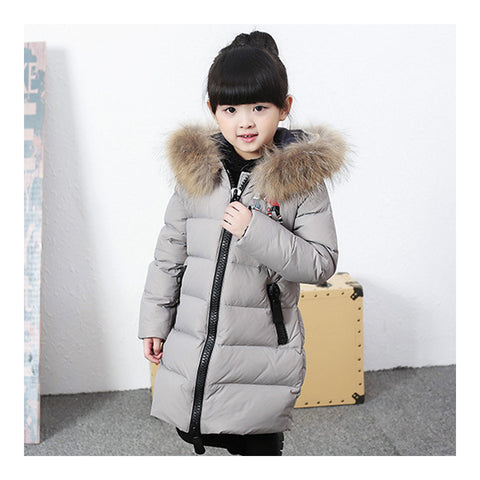 Child Winter Warm Middle Long Down Coat Racoon Fur Collar   grey   110cm - Mega Save Wholesale & Retail - 1