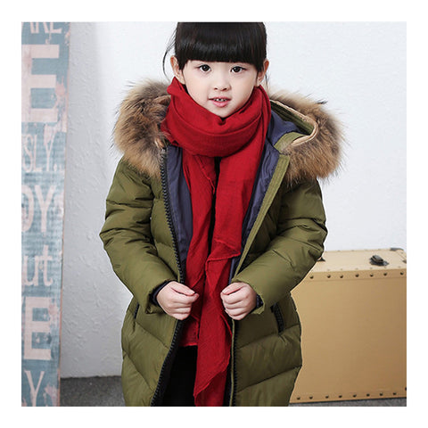Child Winter Warm Middle Long Down Coat Racoon Fur Collar   army green    110cm - Mega Save Wholesale & Retail - 1
