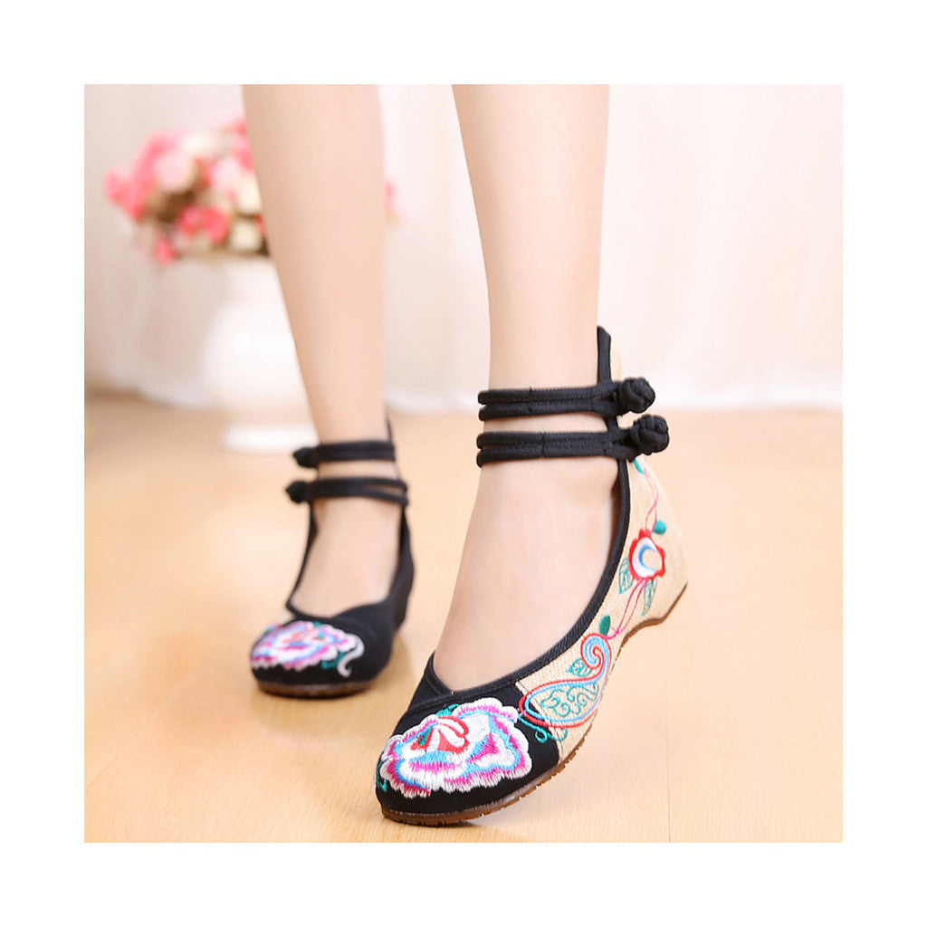 Old Beijing Cloth Shoes Assorted Colors Casual Tie Embroidered Shoes Slipsole Low Cut Increased within National Style Shoes black - Mega Save Wholesale & Retail - 4