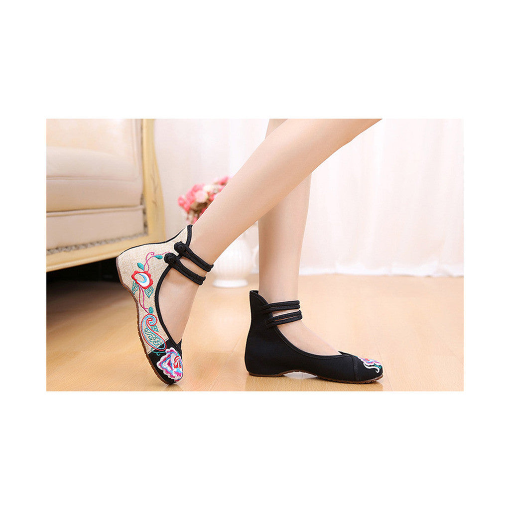 Old Beijing Cloth Shoes Assorted Colors Casual Tie Embroidered Shoes Slipsole Low Cut Increased within National Style Shoes black - Mega Save Wholesale & Retail - 1