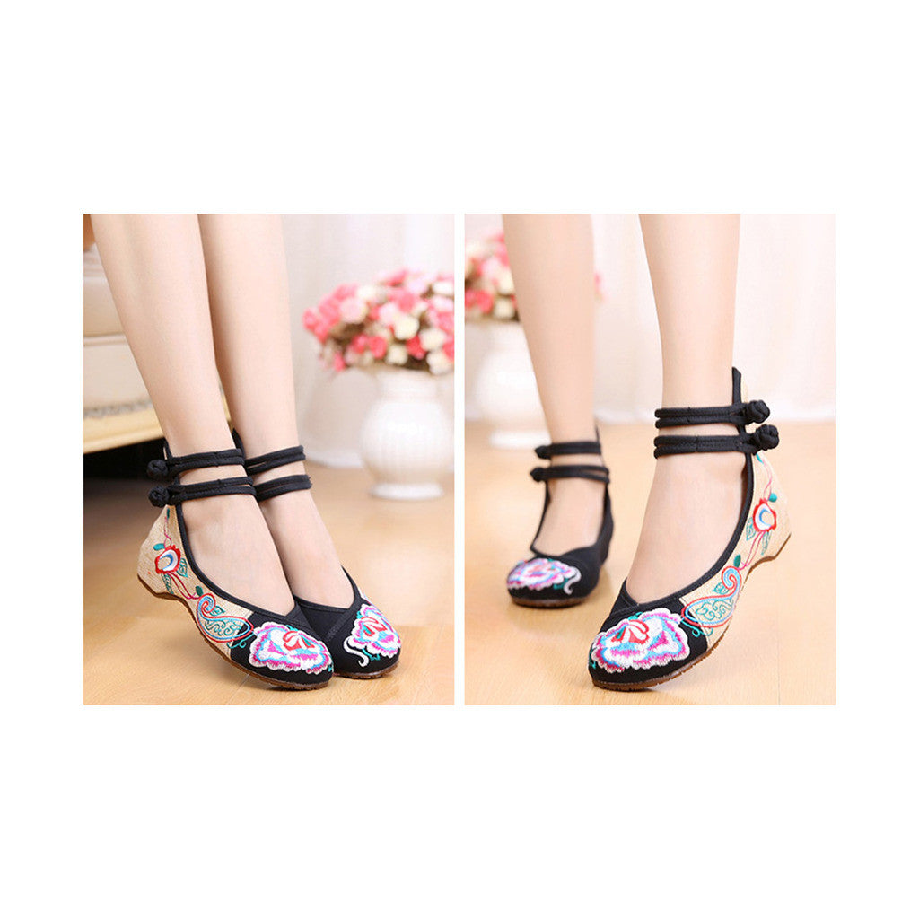 Old Beijing Cloth Shoes Assorted Colors Casual Tie Embroidered Shoes Slipsole Low Cut Increased within National Style Shoes black - Mega Save Wholesale & Retail - 3
