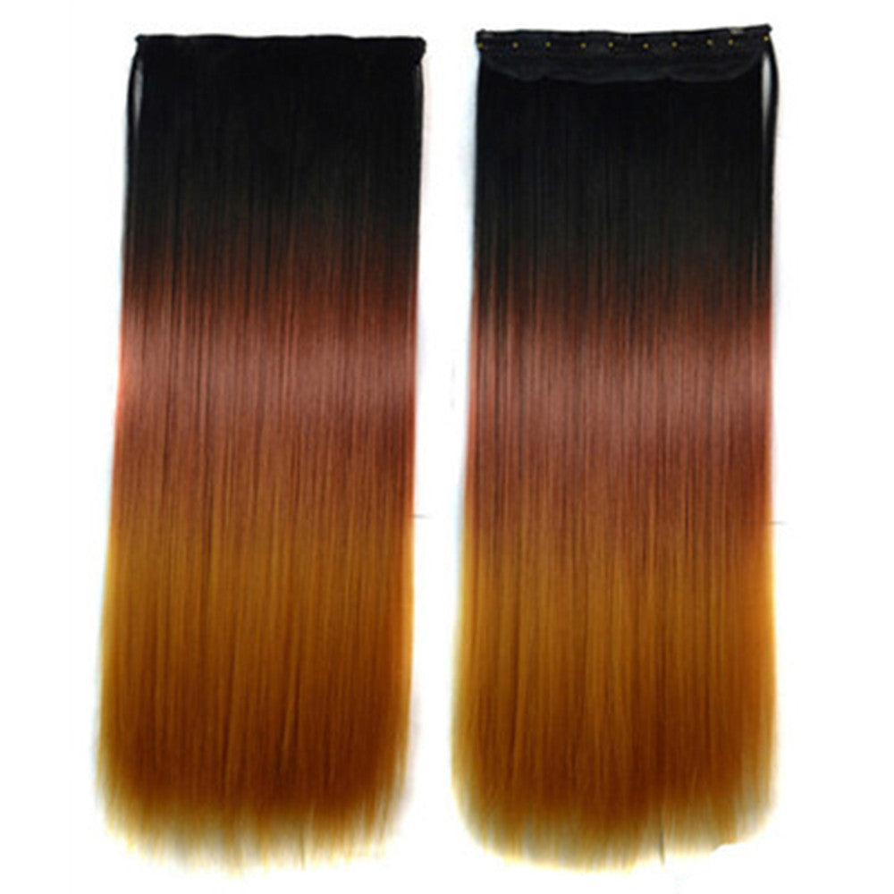 5 Cards Hair Extension 3 Colors Gradient Ramp Wig black dark red light yellow
