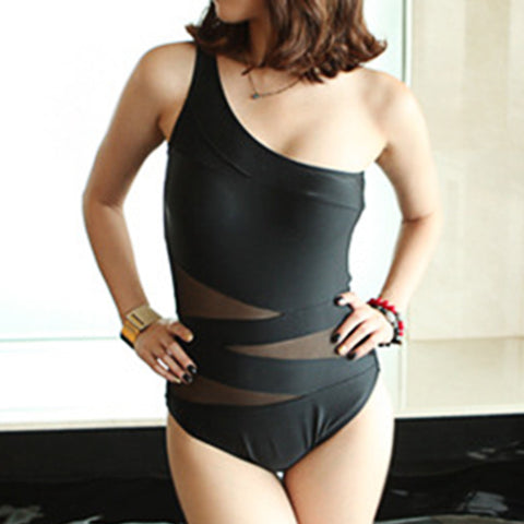 Fashionable Hollow Gauze Black Bikini Swimsuit Swimwear Bathing Suit - Mega Save Wholesale & Retail - 1
