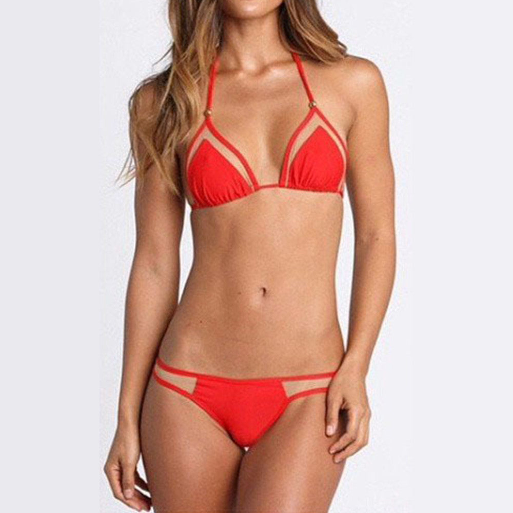 Bikini Swimwear Swimsuit Sexy Gauze   red - Mega Save Wholesale & Retail - 1