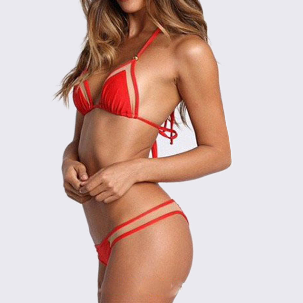 Bikini Swimwear Swimsuit Sexy Gauze   red - Mega Save Wholesale & Retail - 2
