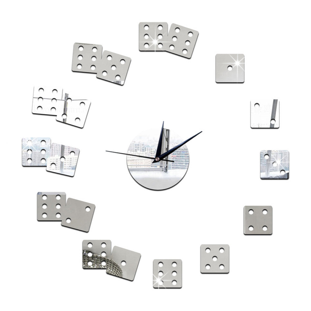 Living Room Wall Clock Mirror DIY Creative Dice    silver - Mega Save Wholesale & Retail