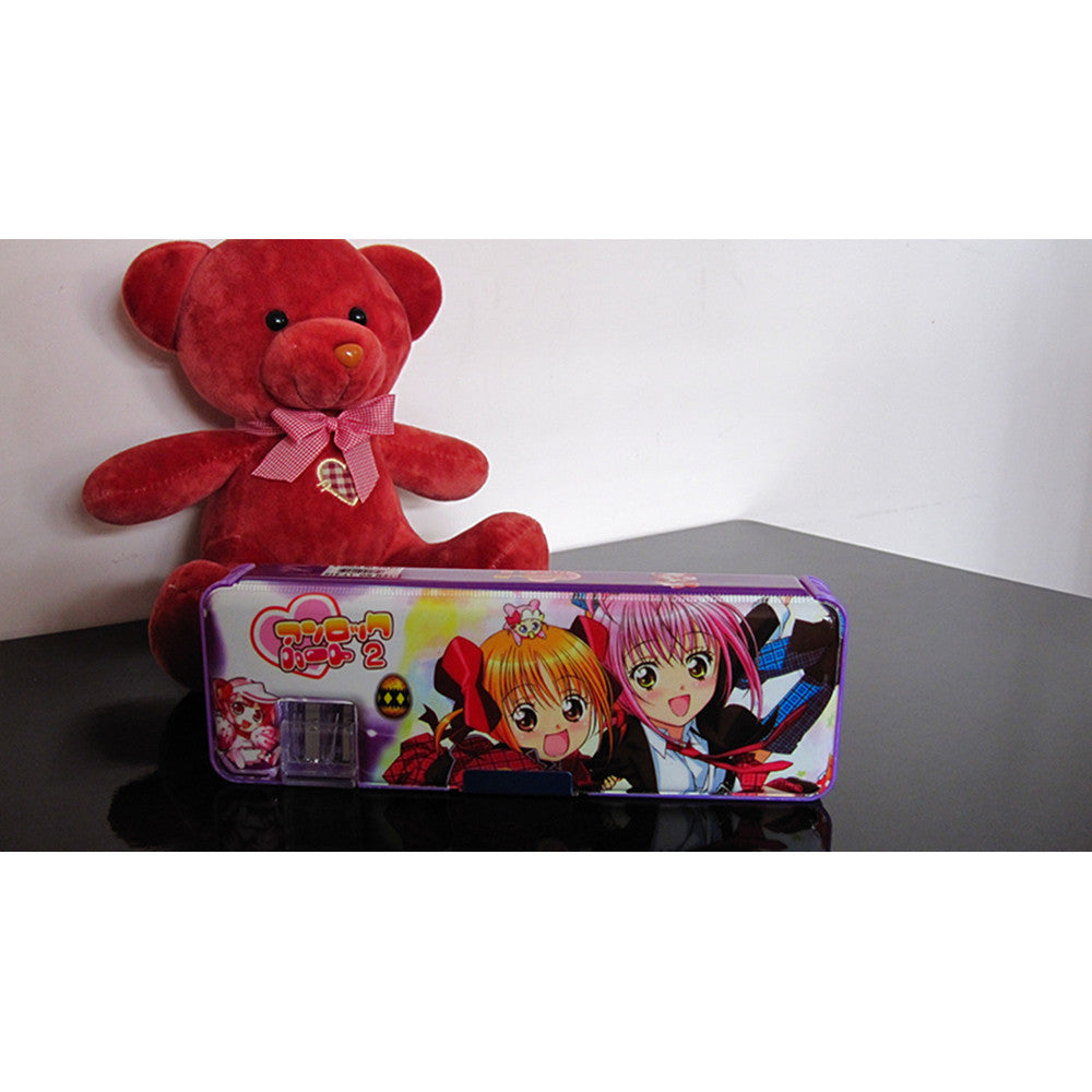 Cute cartoon student supplies Multifunction Two-sided pencil boxes pencil case   Purple girl - Mega Save Wholesale & Retail - 1