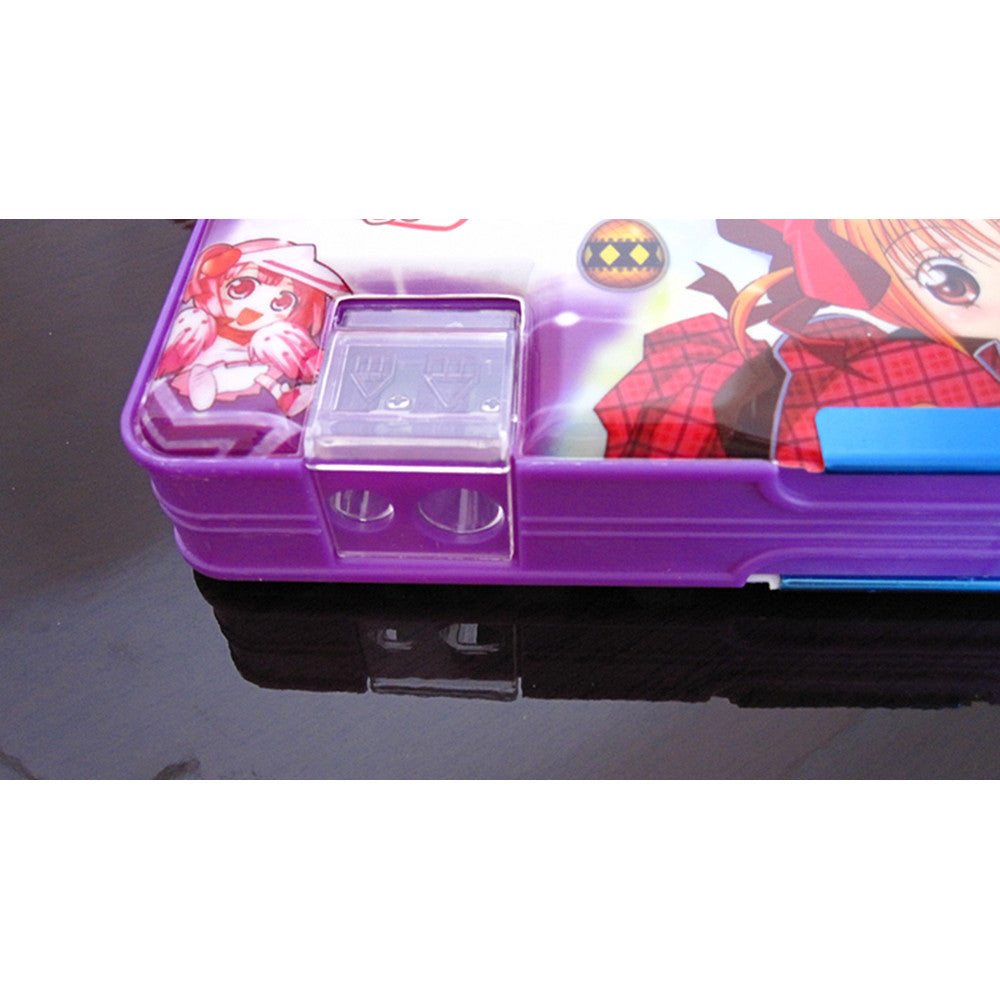 Cute cartoon student supplies Multifunction Two-sided pencil boxes pencil case   Purple girl - Mega Save Wholesale & Retail - 3