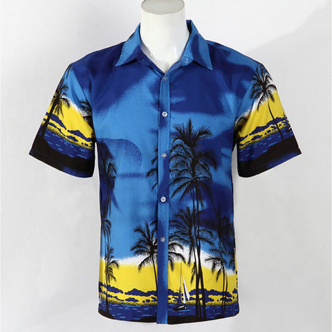 Hot LARGE SIZE Men Aloha Shirt Cruise Tropical Luau Beach Hawaiian Party Palm Deep sea blue  plus fat version - Mega Save Wholesale & Retail