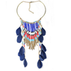 European Fashionable Big Brand Necklace Exaggerated Feather Tassel Necklace Vintage Elegant Temperament   dark blue - Mega Save Wholesale & Retail - 1