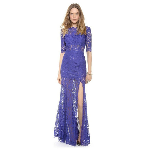 Europe won the  low V back charm eye eyelash lace fringed double high-slit dress skirt dress and manner Deep blue - Mega Save Wholesale & Retail - 1