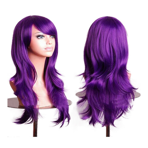"27.5"" 70cm Long Wavy Curly Cosplay Fashion Mermaid Fantasy Wig heat resistant   dark purple - Mega Save Wholesale & Retail"