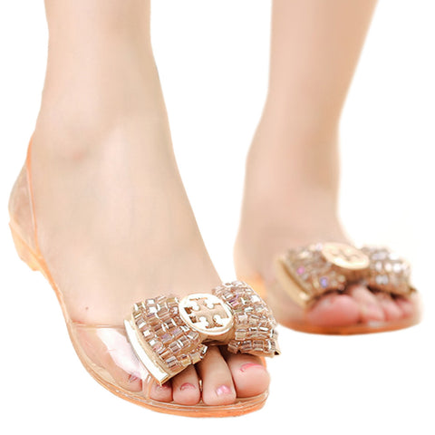 Beads Roman Flat Jelly Shoes Beach Peep-toe Sandals  champagne  35 - Mega Save Wholesale & Retail
