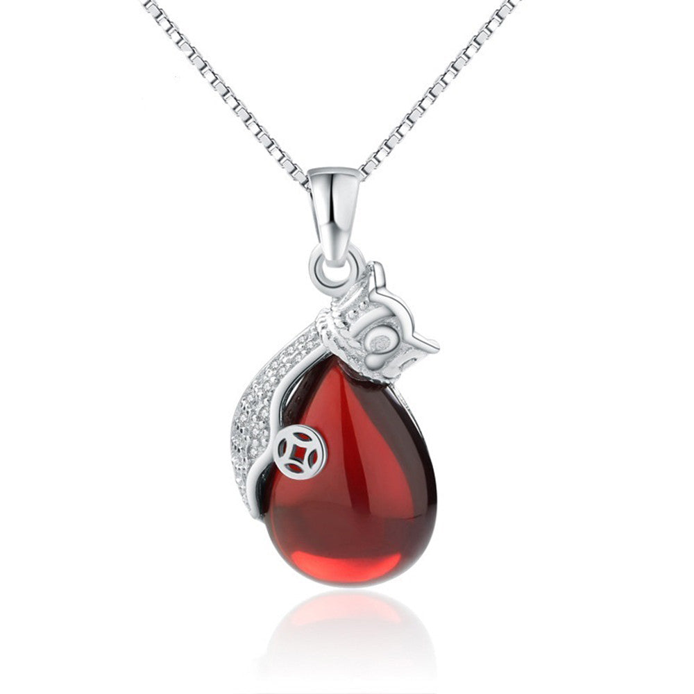 CYW S925 Silver Micro Pave DIY handmade jewelry necklace purse red corundum garnet pendant pendant - Mega Save Wholesale & Retail