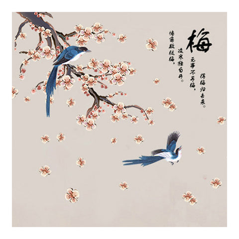 Chinese Style Wallpaper Wall Sticker Plum Blossom Bird - Mega Save Wholesale & Retail - 1