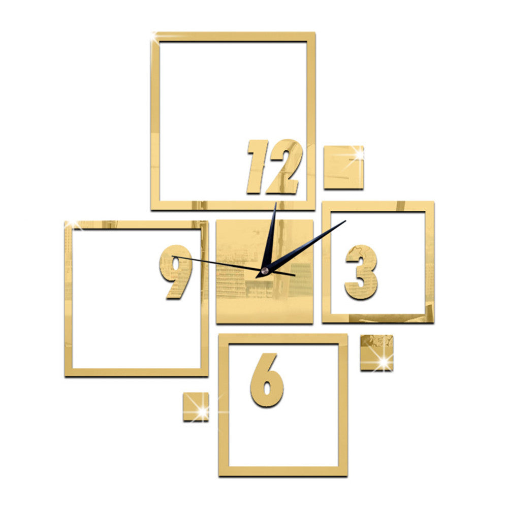 DIY Wall Clock 3D Creative Living Room Silent Mirror   golden - Mega Save Wholesale & Retail