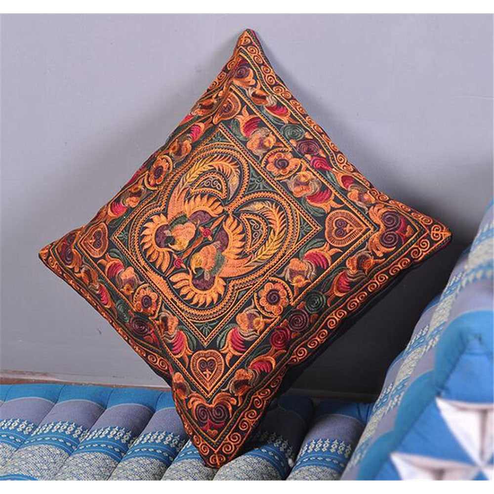 Festival Gift Original Embroidery Cushion Cover National Style Inn Hotel Embroidery Boster Case    two phoenixs - Mega Save Wholesale & Retail - 1
