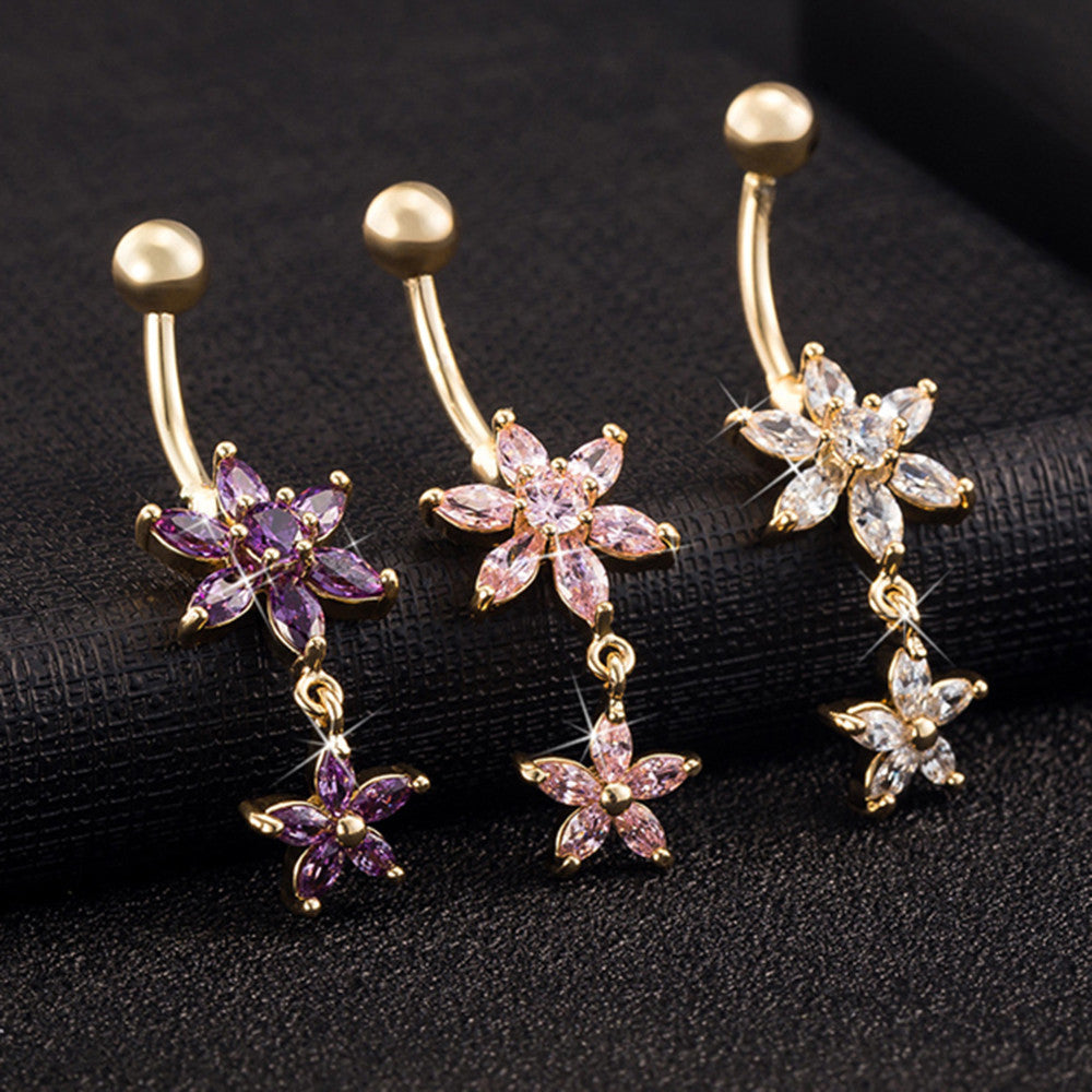 Flower Zircon Long Navel Buckle Ring    gold plated white zircon - Mega Save Wholesale & Retail - 4