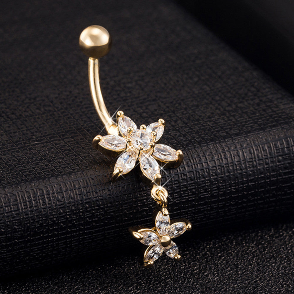 Flower Zircon Long Navel Buckle Ring    gold plated white zircon - Mega Save Wholesale & Retail - 2