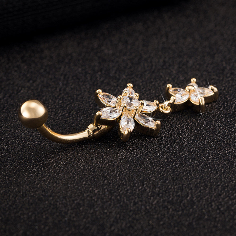 Flower Zircon Long Navel Buckle Ring    gold plated white zircon - Mega Save Wholesale & Retail - 3