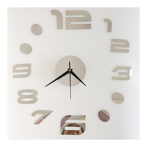 Digit Mirror Casual Wall Clock Decoration Sticking   silver - Mega Save Wholesale & Retail