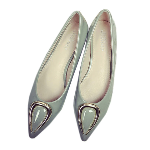 Ox Horn Metal Pointed Low-cut Women Thin Shoes  grey  35 - Mega Save Wholesale & Retail