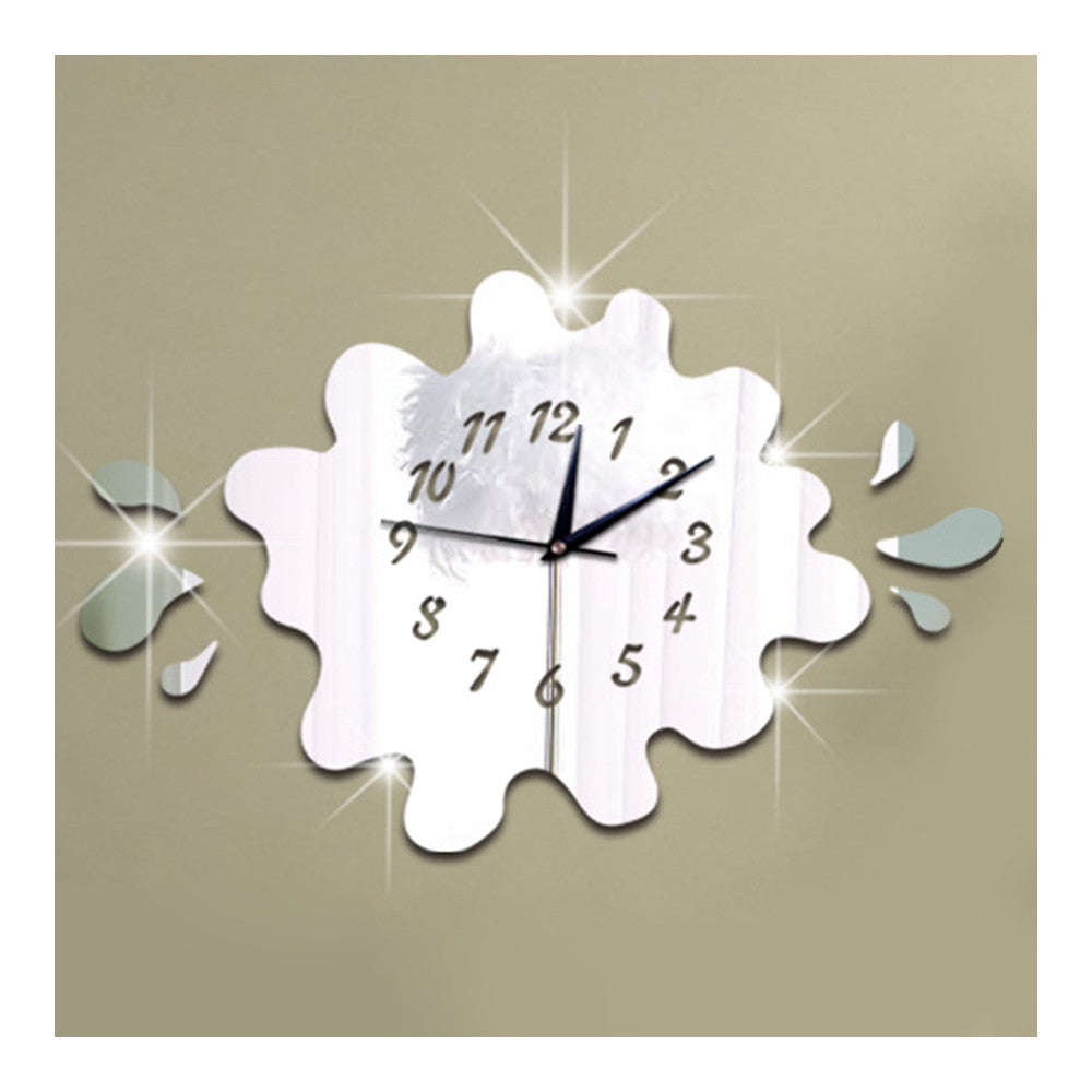 Mirror Wall Clock Creative Waterdrop Sticking   silver - Mega Save Wholesale & Retail