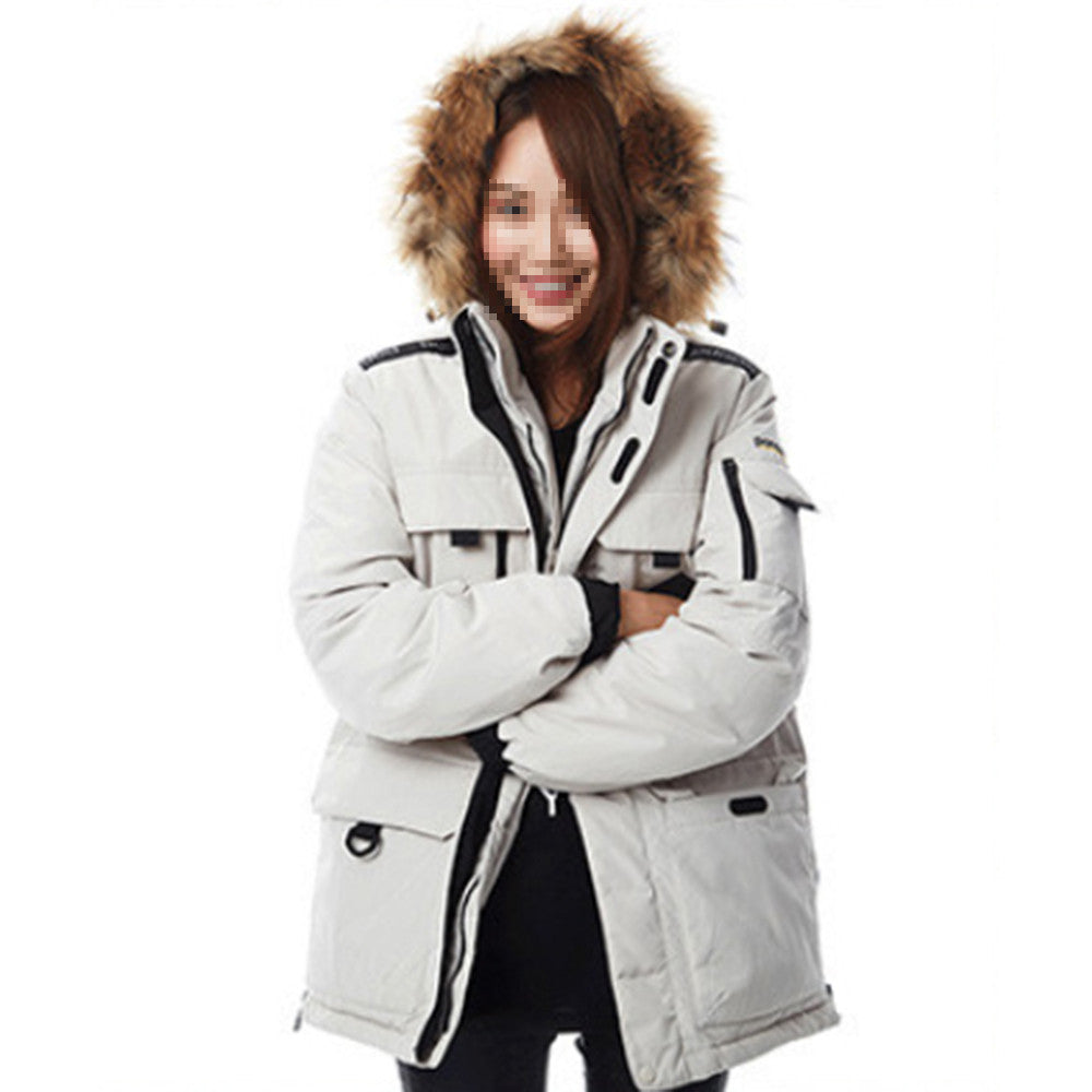 Winter Couple Design Loose Middle Long Thick Down Coat    beige   XS - Mega Save Wholesale & Retail - 1