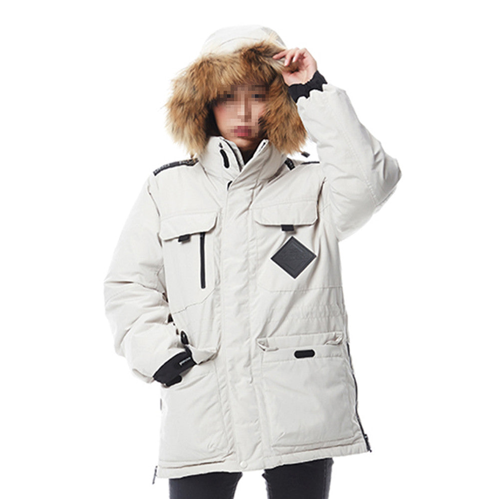 Winter Couple Design Loose Middle Long Thick Down Coat    beige   XS - Mega Save Wholesale & Retail - 2